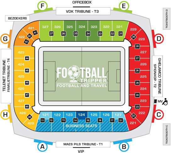 KAA Gent Stadion seating chart