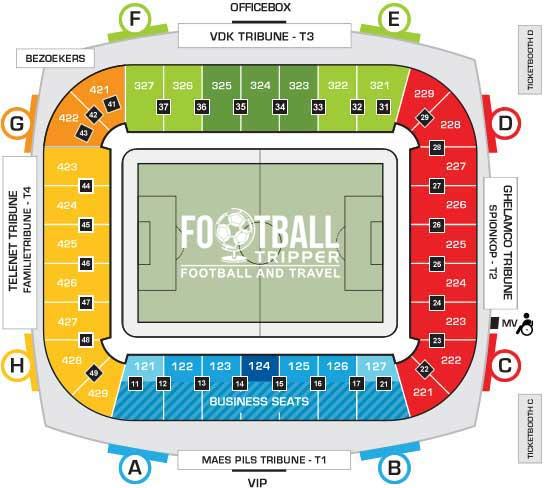 KAA Gent Stadion seating chart