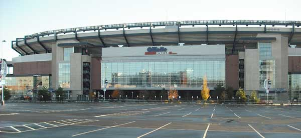 One of the main on-site carparks at Gillette Stadium.