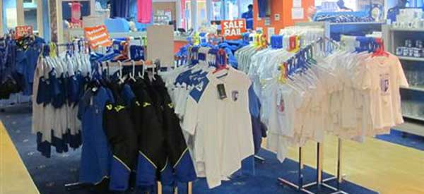 A photo of the inside of the Gillingham club store