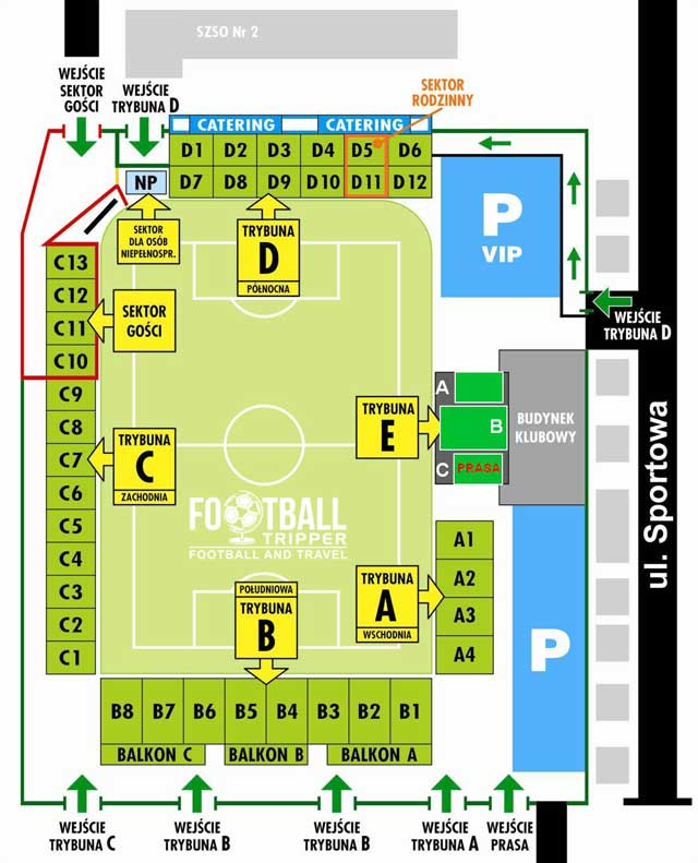 Stadion GKS Bełchatów stand map