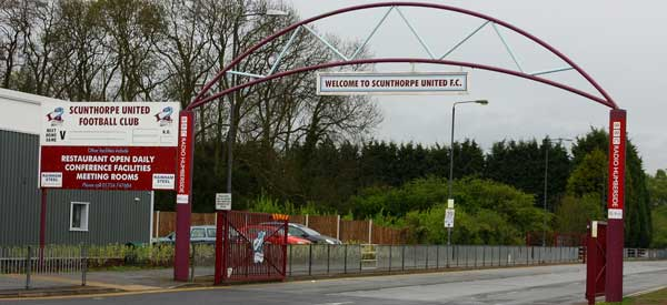 The entrance arch to Scunthorpe's Glanford Park.