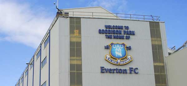 """Welcome to Goodison Park"" sign on the end of a stand."