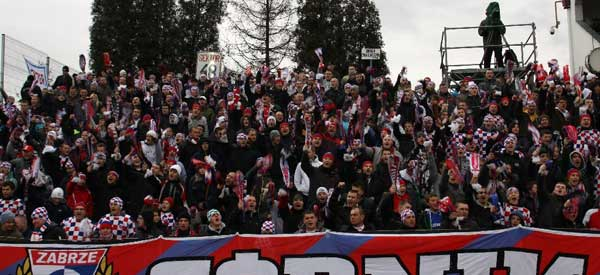 Gornik Zabrze supporters inside the stadium