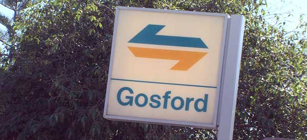 The entrance sign to Gosford Station - the closest form of public transport to Central Coast Stadium.