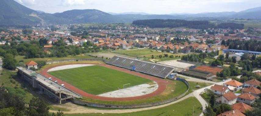 Aerial view of Berane's Municipal Stadium