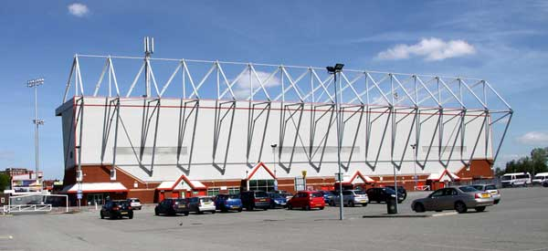 An external view of Crew Alexandra's Gresty Road stadium.