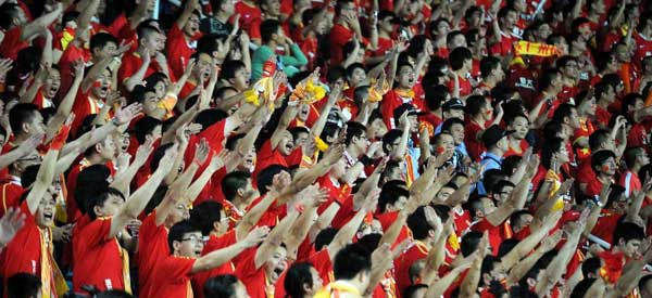Guangzhou evergrande supporters inside the stadium