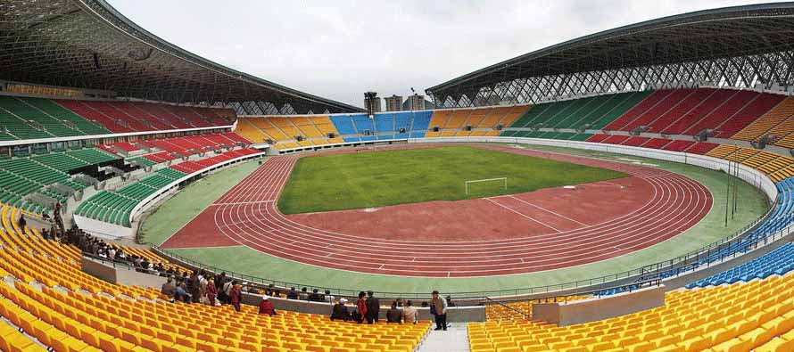Inside empty Guiyang Olympic Sports Center