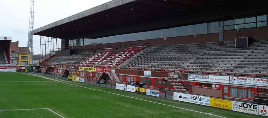 The main stand of Guldensporen Stadion