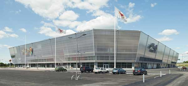 Exterior of Guldfageln Stadium