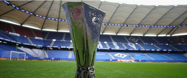 Europa League trophy inside Hamburg Stadium