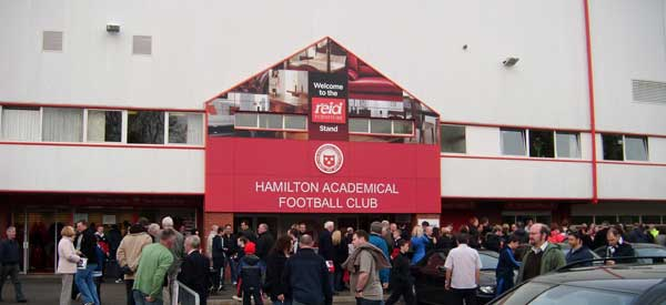 Outside Hamilton Academical Football Club's main stand.