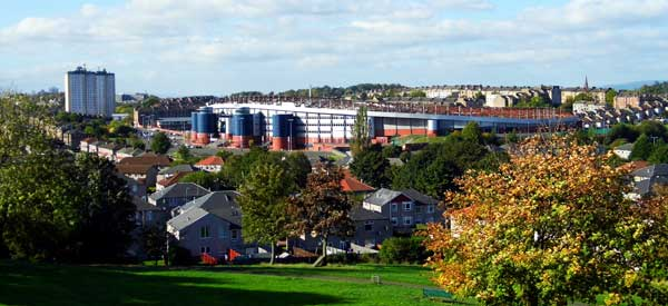 The exterior of Hampden Park as seen from King's Park within the Mount Florida area.