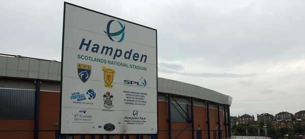 One of the main welcome signs to Scotland's National Stadium, Hampden Park.