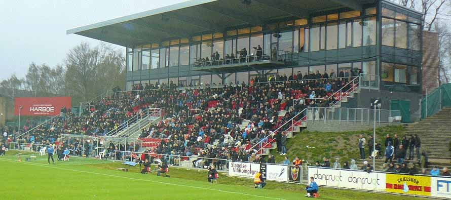 Harboe Arena's main stand