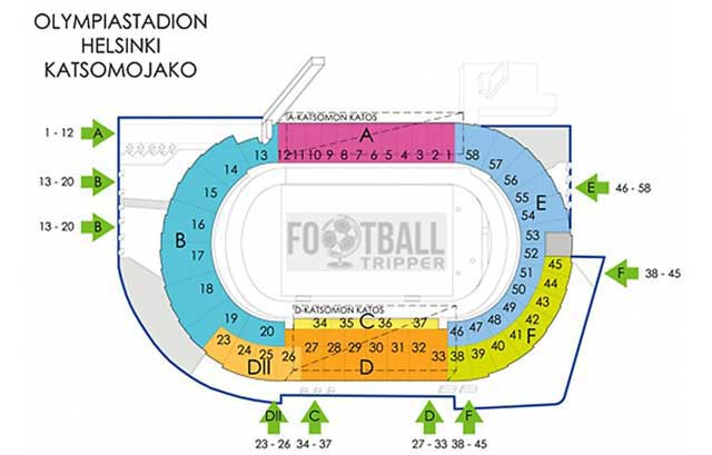Seating plan for Finland's National Olympic Stadium