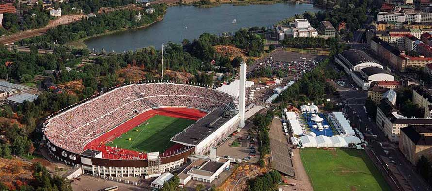 Aerial view of Helsinki Olympic Stadium