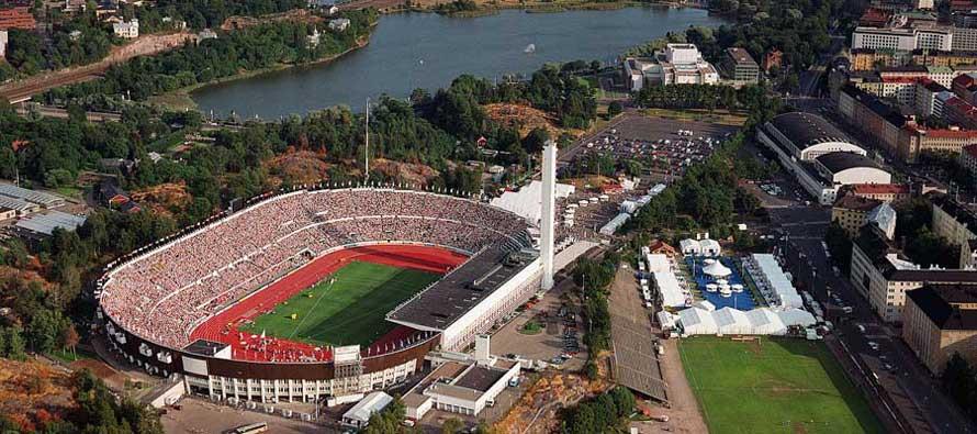 Aerial view of Helsinki Olympic Stadium