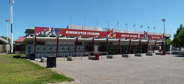 One of the main entrances to Hindmarsh Stadium, home of the reds.