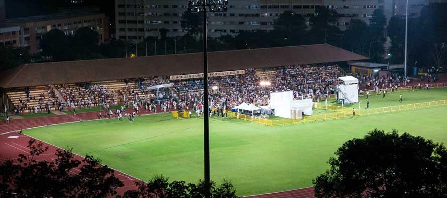 Inside Hougang Stadium at night