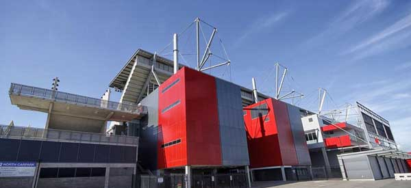 The red exterior of Hunter Stadium's main stand.