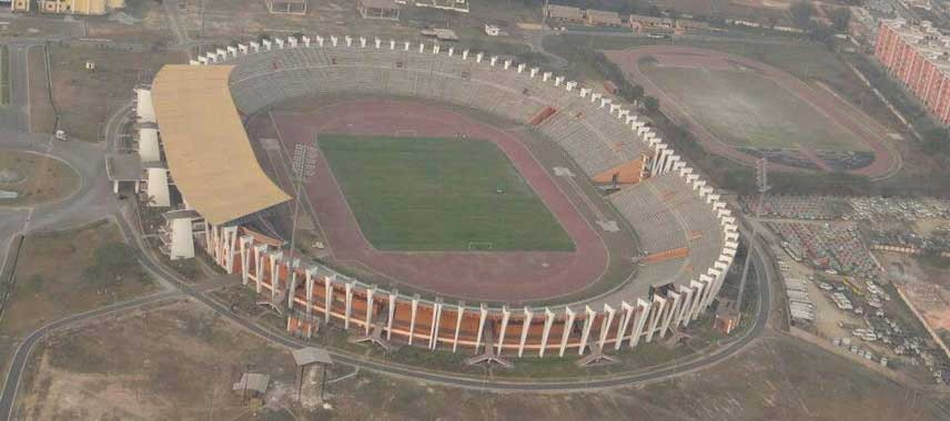 Aerial view of Indira Gandhi Stadium