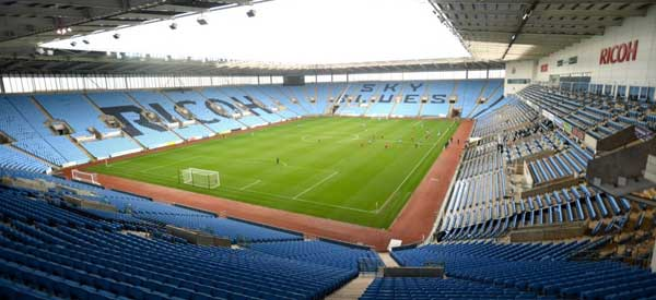 The Ricoh Arena has a capacity of 32,609 and first opened in 2005 with a construction cost of £113 million.