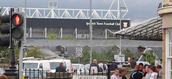 Portman Road from across the river