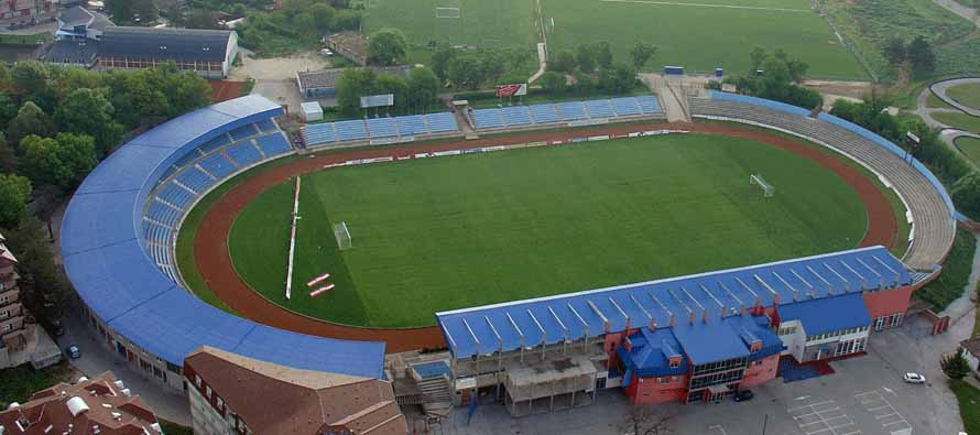 Aerial view of Jagodina City Stadium