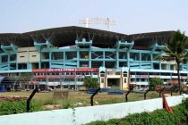 Jagged exterior of Jawaharlal Nehru Stadium