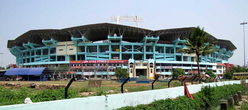Jagged exterior of Jawaharlal Nehru Stadium