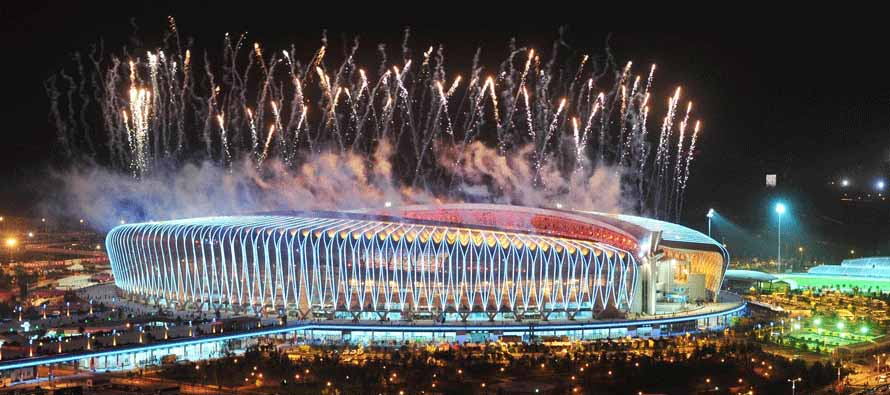 Fireworks at Jinan Olympic Sports Center Stadium
