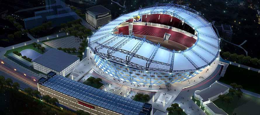 Aerial view of Jinshan Sports Centre at night