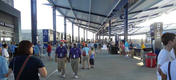 Inside the main concourse of the stadium.