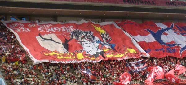 Kashima Antlers supporters inside the stadium
