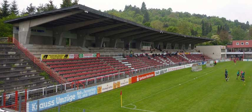 Main stand of Flyeralarm Arena