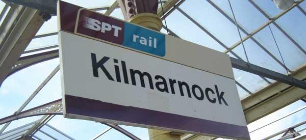 The railway sign of Kilmarnock Station.