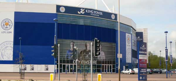 The exterior of the King Power Stadium with the City fanstore below.