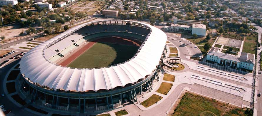 Aerial view of Kopetdag Stadium