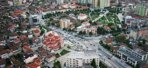 Aerial view of Korce City Centre