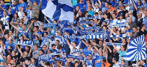 KRC Genk supporters inside the stadium