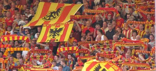 KV Mechelen supporters inside the stadium