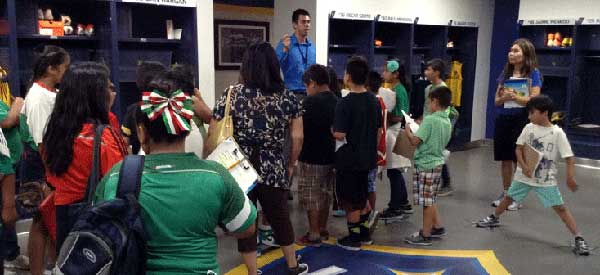 A school tours the Stubhub Centre and takes in LA Galaxy's locker room.