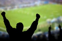 Generic fan inside blurred stadium