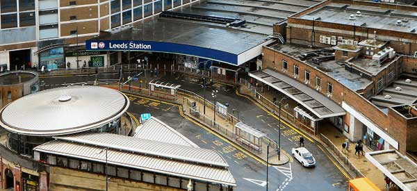 A dismal view of Leeds Railway and adjacent Bus stations.