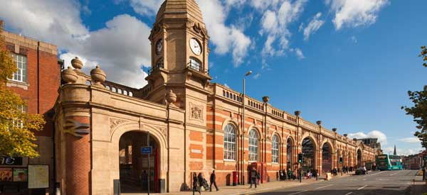 The exterior of Leicester train station