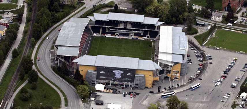 Aerial view of Lerkendal Stadium
