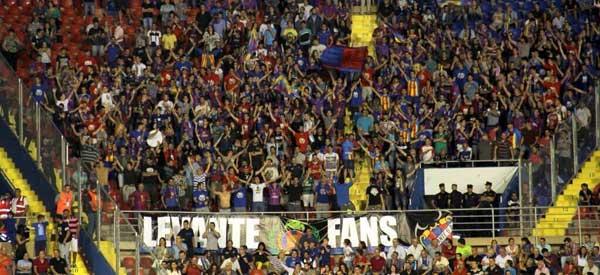 Levante supporters inside the stadium
