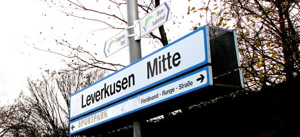 The railway sign of Leverkusen Mitte Station